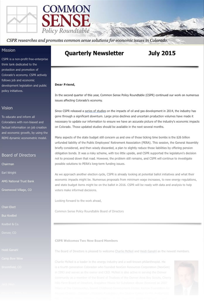 Quarterly Newsletter – July 2015