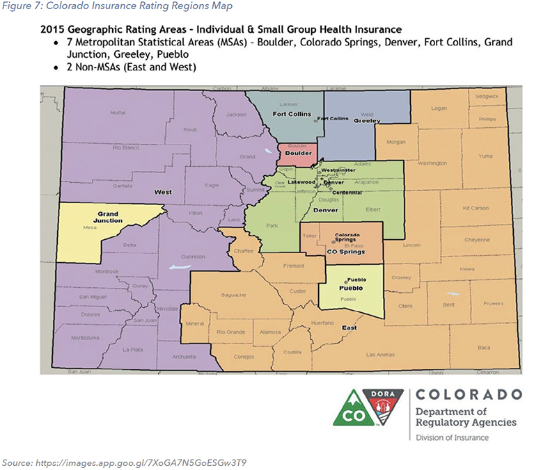 Figure 7: Colorado Insurance Rating Regions Map