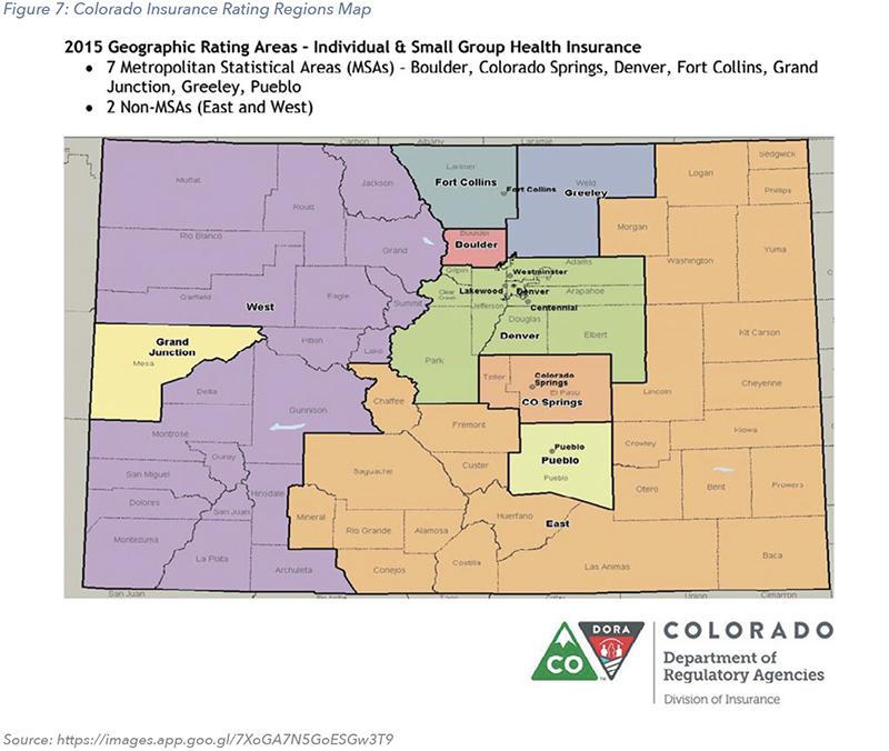 Figure 7: Colorado Insurance Rating Regions Map