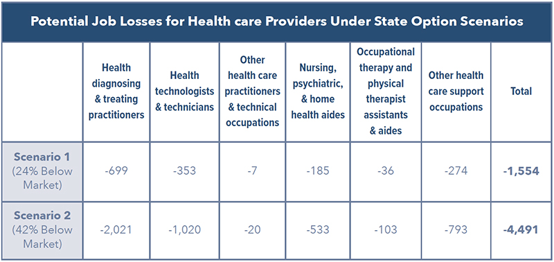 Potential Job Losses for Health care Providers Under State Option Scenarios