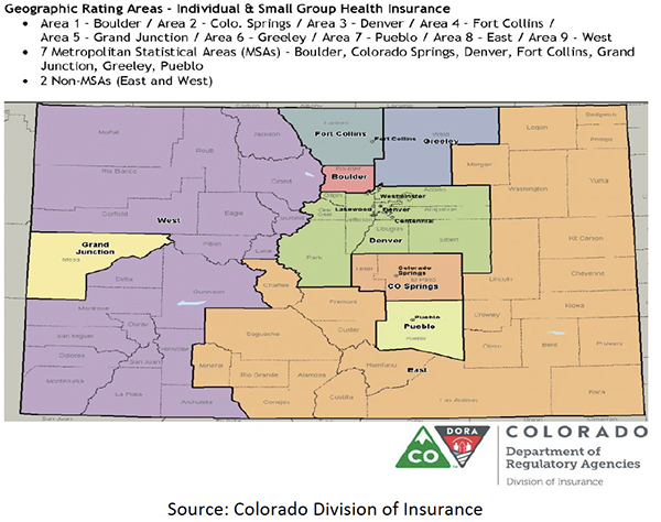 Figure 7: Map of Colorado Health Insurance Rating Areas