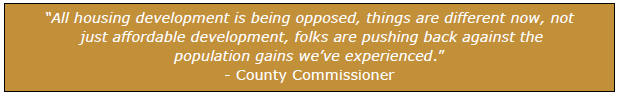 """""""All housing development is being opposed, things are different now, not just affordable development, folks are pushing back against the population gains we've experienced."""" - County Commissioner"""